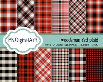 "Woodsman Red Plaid Digital Paper - ""Woodsman Red Plaid""  Scrapbook Paper Background Crafting Supplies"