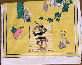Vintage Startex Wonder-dri 1960s Yellow Linen tea towel
