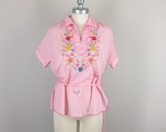 1970s Vintage Top / 70s Embroidered Top / Bohemian Cotton Top