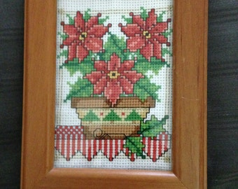 4.5x6 Finished Christmas Poinsettia Cross Stitch