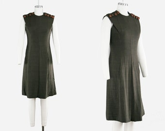 Vintage 1950s Mollie Parnis Dress - Brown - Sleeveless - Front Pleats - Statement Leather Button - Work Dress - Medium - Ready To Wear