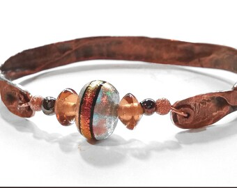 Hammered Copper Bangle with Iridescent Bead