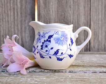 White and Blue 'Loire Blue' Pottery Small Ceramic Creamer