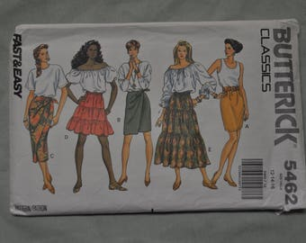 Skirt Pattern - 5 Styles - Sizes 12-14-16 - UNCUT - Butterick 5462