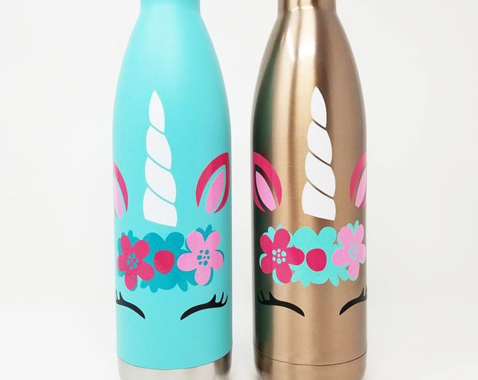 MIRA Double Walled, Personalized Name Vacuum Insulated Stainless Steel Bottle, Unicorn, Water Bottle, Hydrate, Rainbow, Rose Gold, 25oz