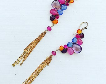 Woven Earrings Tanzanite Amethyst