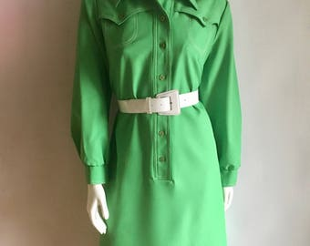 Vintage Women's 60's Mod, Kelly Green, Dress, Polyester, Long Sleeve by Toni Todd (XL)