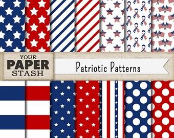 Patriotic Digital Paper, Patriotic Scrapbook Paper, Red White & Blue, Stars and Stripes, Digital Scrapbooking Paper, Commercial Use