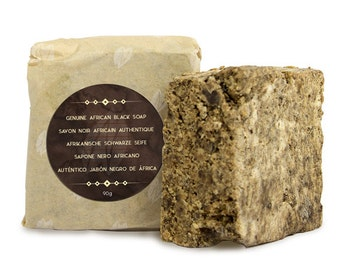 Pure Natrual African Black Soap 90g with Shea butter, Cocoa Pods, Palm & Coconut oils