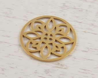 Gold Vermeil Round Flower Connector 15mm