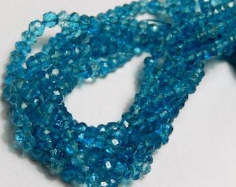 Blue Quartz  Gemstone Rondelle. Faceted Rondelle. 4mm. Semi Precious Gemstone Bead. Your Choice Strand. (o2qbz)