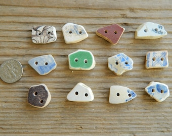 12 small drilled sea pottery buttons for crafts