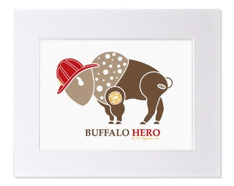 Fireman Art Print Firefighter Buffalo Hero Maltese Cross Art