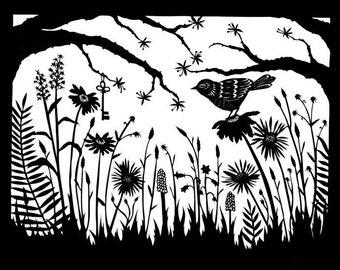 The Garden - 8 X 10 inch Cut Paper Art Print