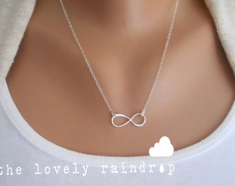 SALE - Sterling Silver Infinity Necklace - Infinity Charm Suspended on Sterling Silver Fine Cable Chain - Perfect Gift - the lovely raindrop