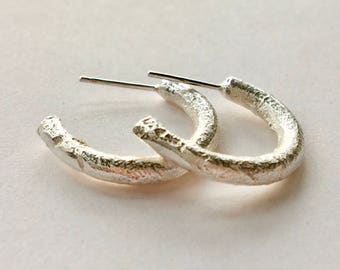 Recycled Sand Cast Hoop Earrings