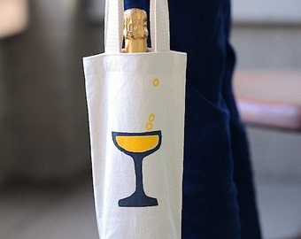 Champagne Bag, Celebration Gift, Canvas Champagne Tote, Bubbly Bag, Bridesmaid Gift, Housewarming Gift
