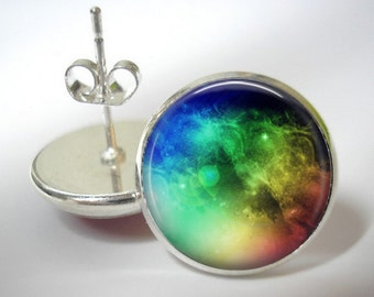 Espace arc en ciel - bouton boucles d'oreilles - finition argent - pendentif assorti disponible