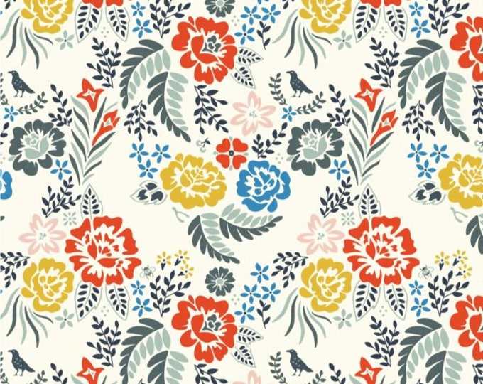 Organic KNIT Fabric - Birch Merryweather - Merry Floral Multi Knit
