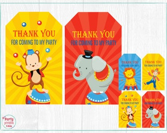 Circus Carnival Favor Tags, Circus Tag, Circus Party Decoration, Circus Thank You Tags, Printable PDF