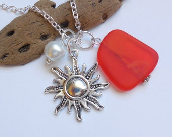 Tangerine Sea Glass Necklace, Orange Beach Glass Necklace, Sea Glass Jewelry, Beach Glass Jewelery, Starburst,Sun Necklace, Free US Shipping