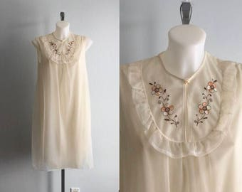 Vintage Beige Chiffon Nightgown, 1960s Nightgown, Chiffon Nightgown, Short Chiffon Nightgown, Vintage Lingerie