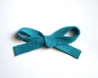 Turquoise Suede LARGE Leather Bow Clip Photo Prop for Newborn Baby Little Girl Child Adult Summer Headwrap Pretty Bow
