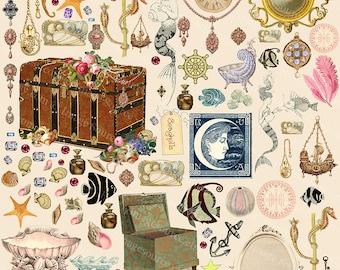 Digital Scrapbook Paper, Mermaids Treasures, Fantasy Collage Sheet, Jewelry, Pearls, Mermaids Collection Instant  Download Printables