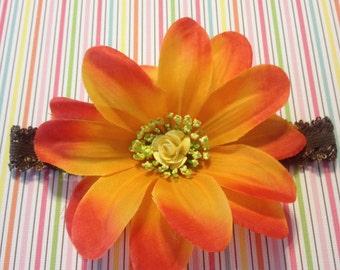 Brown Lacy Headband, Orange Sunflower Headband.