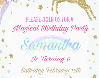 Unicorn Birthday Party Invitation 5x7