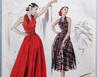 Butterick 4919.  Misses halter dress pattern.  Retro 1952 fashion dress pattern.  Halter top formal dress pattern.  Sizes 14-20.  Uncut.