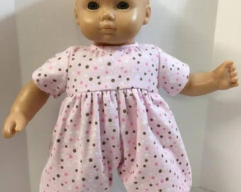 """15 inch Bitty Baby Clothes, Pretty """"PINK & Brown POLKA Dot"""" Romper/Sleeper, 15"""" AG Bitty Baby Clothes and Twin Doll Clothes, Cuddly Soft"""