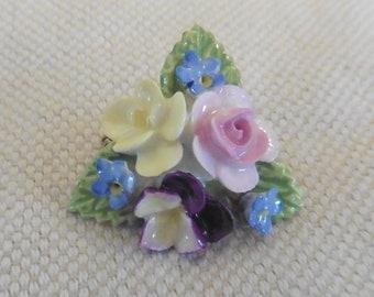Coalport Porcelain Flower Brooch.  vintage Coalport brooch.  porcelain brooches.