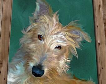 Dog Art - Lurcher Dog Print - Pet Portrait Art Painting - Dog Lover Gifts - Wall Art Decor - Dog Portrait Art