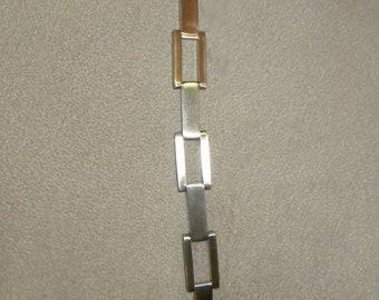 Father's Day, Men's Bracelet, Stainless Steel, Rectangular, Link Bracelet, Biker Bracelet, Rocker Bracelet, Cool Men's Bracelet
