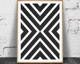 Black and White Print, Modern Scandinavian Wall Art, Black and White Geometric, Printable Scandinavian Poster, Black White Wall Art Decor