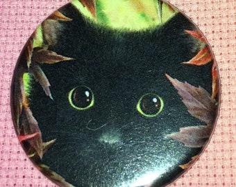 CLEARANCE, Seconds stock, Black Cat Needle Minder, Cross Stitch Keeper, SheBlackDragon Art, Fridge Magnet, Button Magnet, Pin Holder