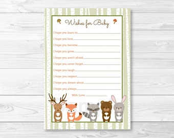 Woodland Forest Animal Wishes For Baby / Woodland Baby Shower / Forest Animal Baby Shower / Birch Tree / PRINTABLE INSTANT DOWNLOAD A187