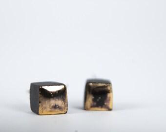 matte square earrings, mens earrings, minimal earrings, gold earrings, earrings for women, black stud earrings, jewelry earrings,