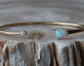 Opal + Diamond Cuff Bracelet