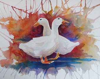Watercolour painting of two white ducks
