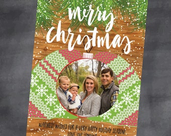 FAST! Digital File 12 hours or less! Winter Photo Printable Christmas Card Customize with your message DIY Wreath Mittens Ornament Holiday R