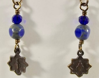 Catholic Earrings with Miraculous Medal and Glass Beads Jewelry