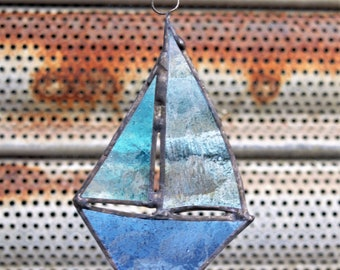 Stained glass sailboat decoration hanging