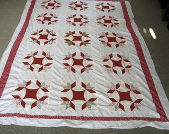 Antique Vintage Quilt Top Hands All Around Red Calico Colored