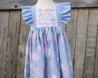 Big Sister Dress - Sister Dresses - Baby Shower Gift - Big Sister Outfit - Personalized Big Sister Dress - Sibling Outfit - Big Sister Gift
