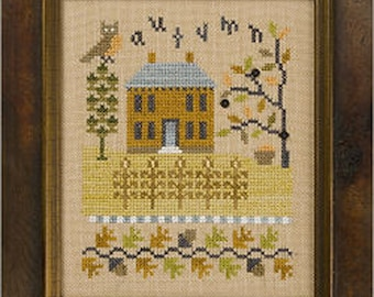 Lizzie Kate Flip-It F140 - Autumn - Counted Cross Stitch Chart Pattern with Buttons