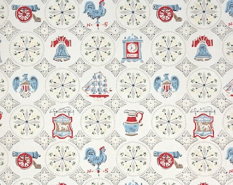 1950s Vintage Wallpaper by the Yard - Patriotic Americana Red White Blue