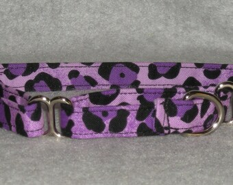 """XX Small or X Small Martingale Dog Collar 1/2"""" Wide Purple Cheetah"""