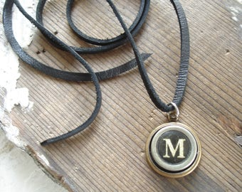 Upcycled Jewelry. Personalized Letter M Necklace. Typewriter Jewelry. Typewriter Necklace. Vintage Typewriter Key Necklace. Unisex Gift.